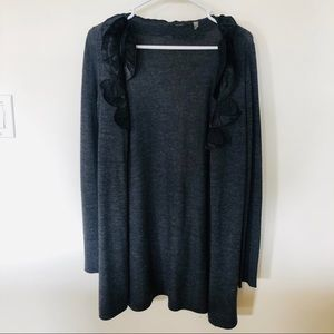 Tahari ruffle sweater cardigan
